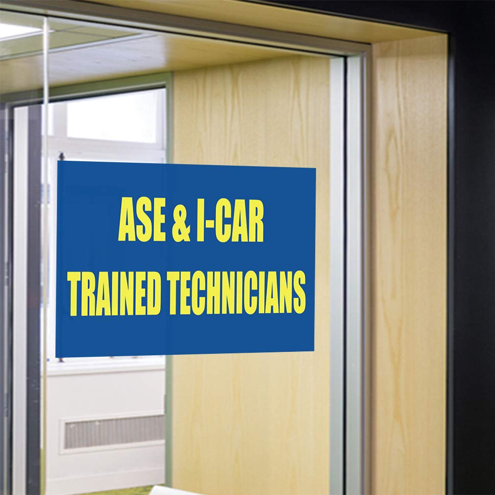 Decal Sticker Multiple Sizes Ase /& I-Car Trained Technicians Business Automotive Automotive Service Excellence Outdoor Store Sign Blue 69inx46in,