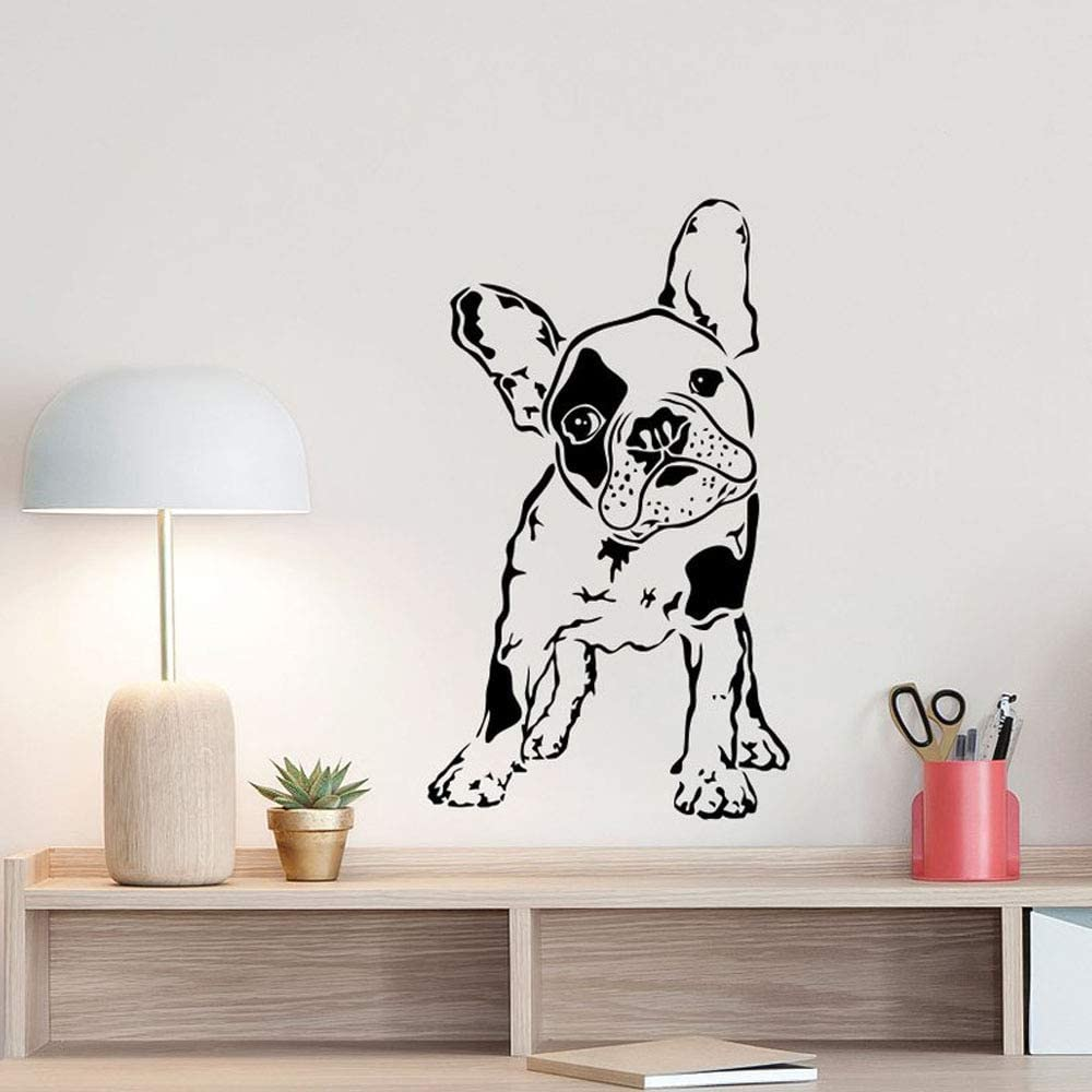 wanmeidp Bulldog francés Tatuajes de Pared Cachorro Cartel Regalos para Perros Tienda de Mascotas Animales Vivero Vinilo Pegatina de Pared Decoración para Sala de Juegos Arte de Pared 1 57x97 cm