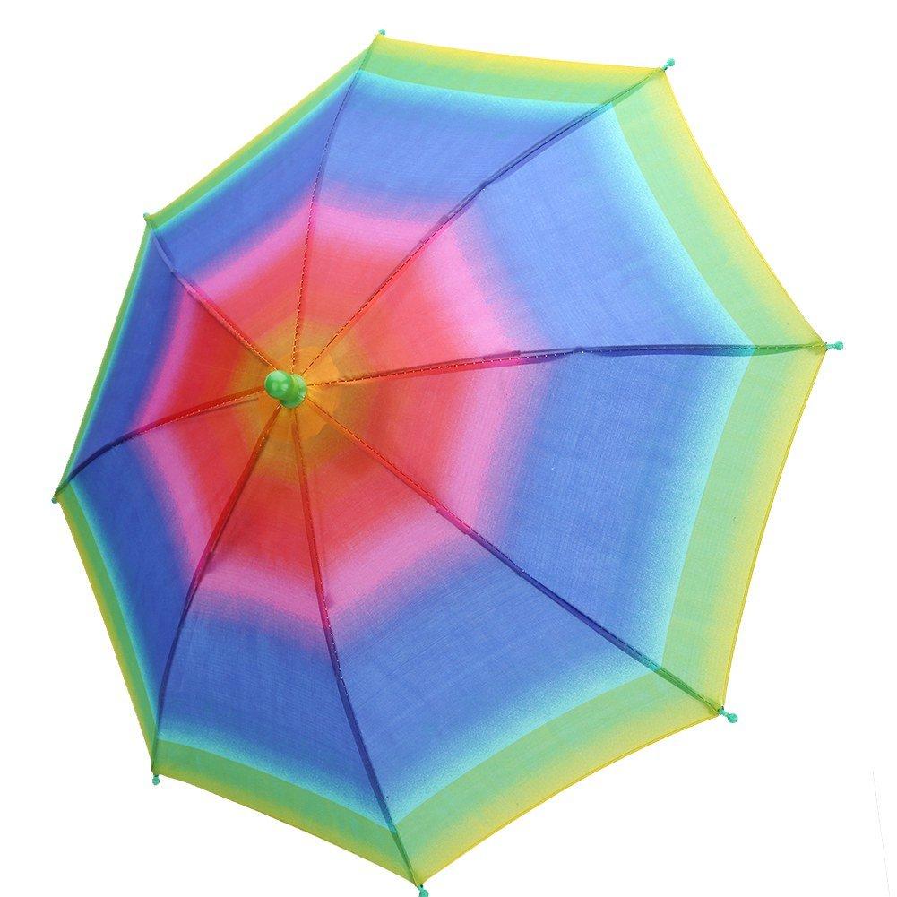 Alomejor傘の帽子折りたたみ式軽量レインボー帽子傘太陽の雨ノベルティゴルフ釣りのための傘の帽子キャップキャンプ(虹)   B07RDL3FJC