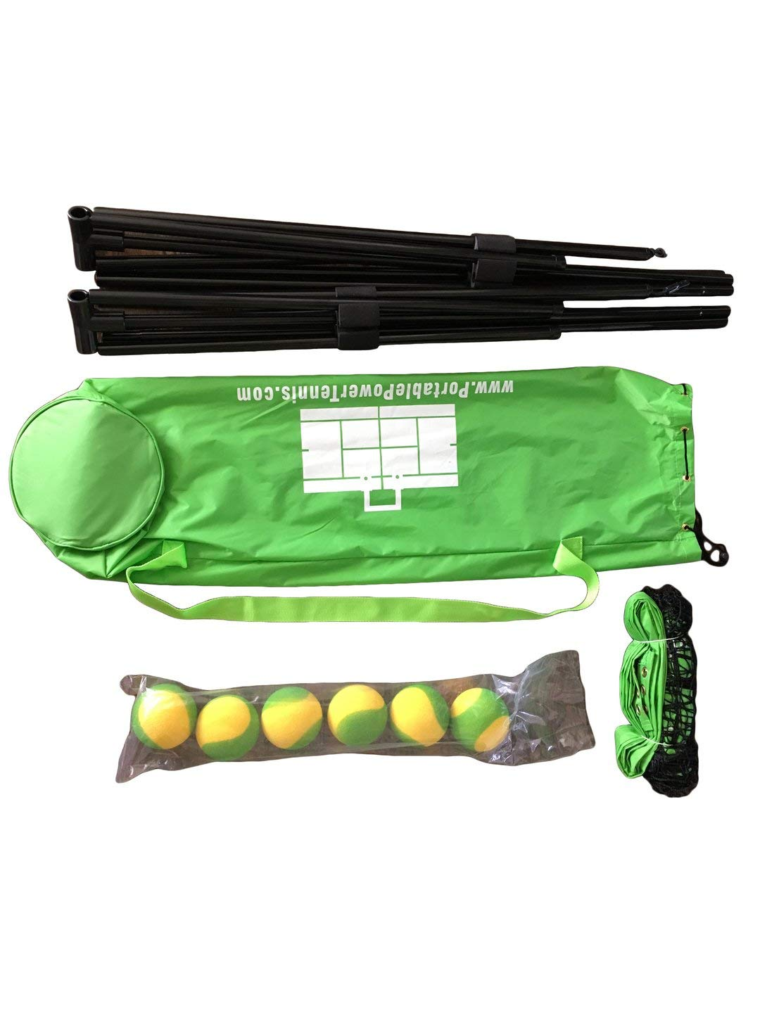 Portable Power Tennis Set (Mini Net, 6 High Density Foam Balls, Carry Bag)
