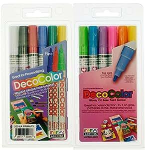 Uchida of America Bundle Set of 2- 200-6A 6-Piece Decocolor Fine Point Paint Marker Set and 200-6C Decocolor Fine Point Marker Set