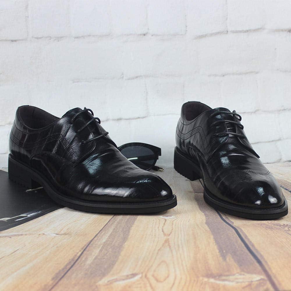 Wsreyj Schnürschuhe Lederschuhe Herren Gürtel Business Casual Schuhe Erste Schicht Leder Spitzkopf Kleid Schuhe Schwarz