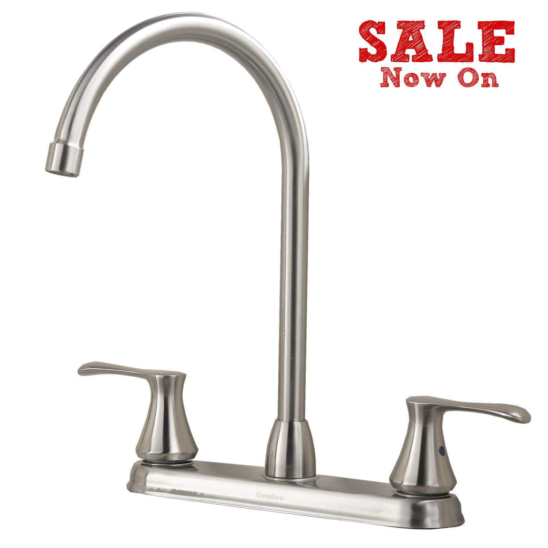 Comllen High Arc Swivel Spout Brushed Nickel Two Handle Kitchen Sink Faucet, RV Kitchen Faucet Dual Handle