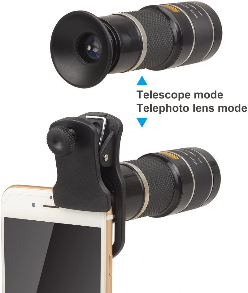 Cell Phone Camera Lens Kit,Winnes Universal 20X Clip-On Zoom Telephoto Lens External HD Concert Photo Photography Adjustable Focus 20 Times Telephoto Mobile Phone Lens Compatible for Android and iOS 616-HKbaxkL