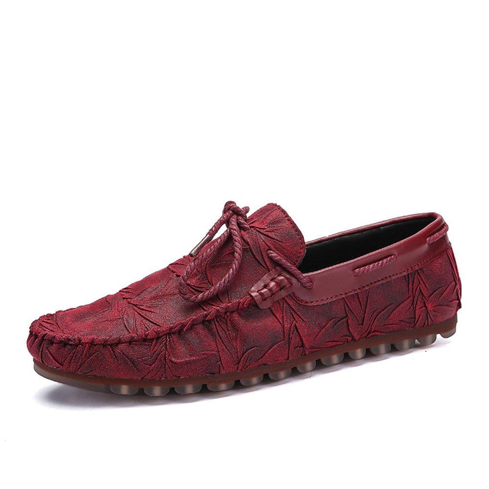 Mocasines para Caminar Zapatos Casuales de Cuero de los Hombres Zapatos Planos de conducción de los Mocasines Zapatos de Barco 40 EU|Rojo