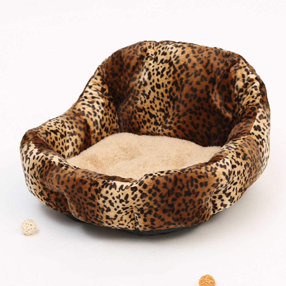 Leopard print RABILTY Teddy Pomeranian Kennel Spring Dog House Back Nest Small Dog Kennel Pet Huddle (color   Leopard Print)