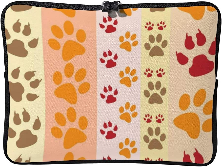 Laptop Sleeve Water Repellent Neoprene Bag Protective Case Cover Compatible with MacBook Pro/Asus/Dell/Hp/Sony/Acer 17 Inch, Cute Animal Paw Prints Pattern in Natural Colors