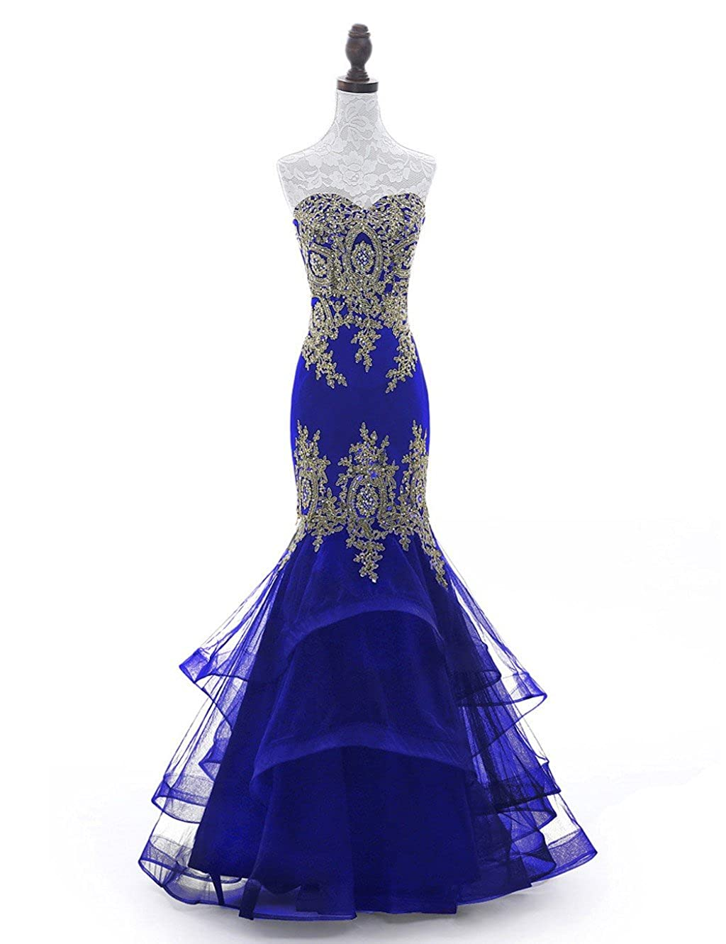 Royal bluee Yesdo gold Lace Formal Evening Gown Mermaid Prom Dresses with Tiered Skirt