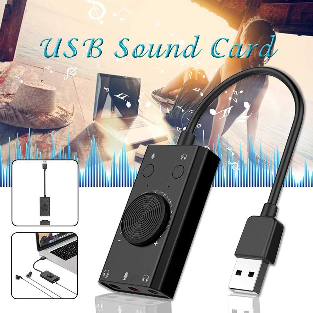 HBIAO Portable USB External Sound Card Microphone Headphones 2-in-1 with 3-Port Output Adjustable Volume for Windows/Mac/Linux