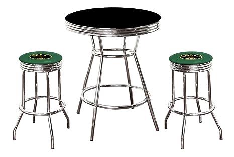 Amazon com: New Gasoline Themed 3 Piece Chrome Bar Table Set