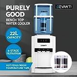 Devanti 22L Water Cooler Dispenser Filter Purifier Hot Cold Dual Tap Bench Top (3 Taps + 2 Filters)