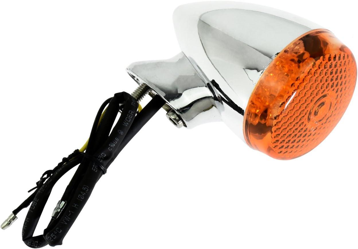 Chrome+White 4Pcs Motorcycle Front Rear LED Turn Signal Indicator Light w//41mm Fork Clamp for Harley Sportster Dyna Bobber