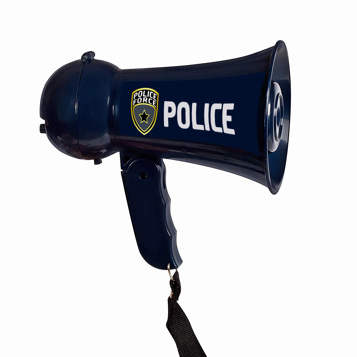 Pretend Police Officer Toy Megaphone with Siren Sounds for Kids - Loud, Clear, Folding Handle, Strap, Volume Control