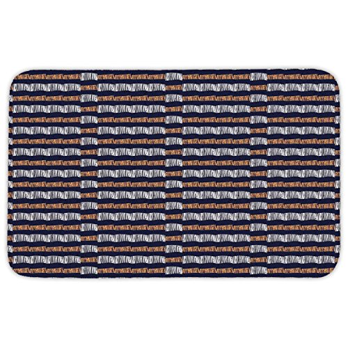 - Rectangular Area Rug Mat Rug,Ethnic,Abstract Authentic Motif with Horizontal Folk Bands Vintage Culture Design,Indigo Ginger White,Home Decor Mat with Non Slip Backing