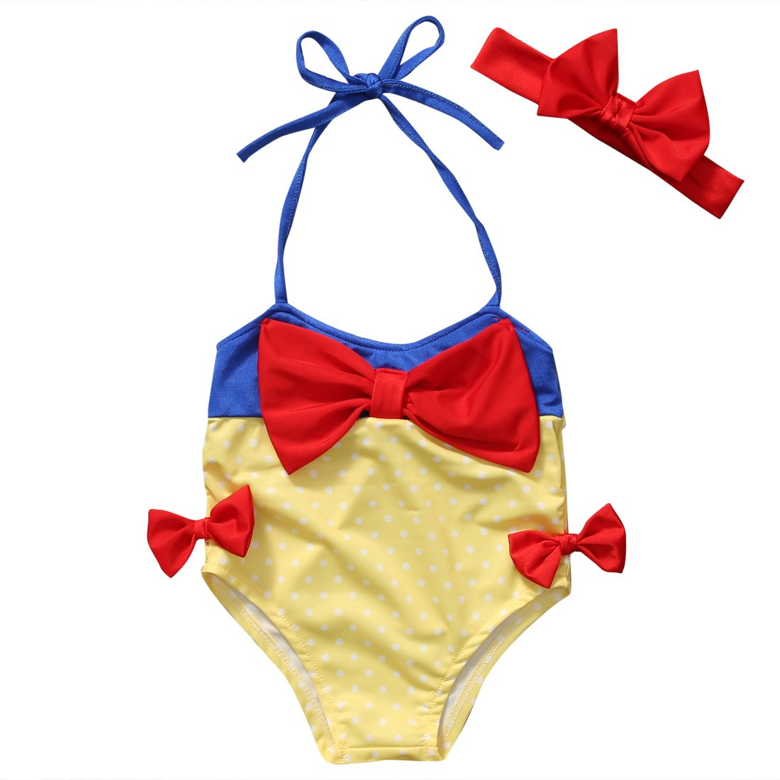 Hirigin Baby Girls 2 Pcs Swimwear Bow Dot Halter Romper Bikini+Headband Swimsuit FT16056