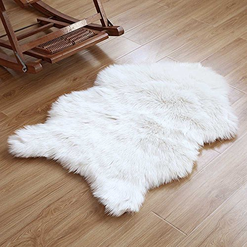 HAOCOO Faux Fur Rug White Shag Fuzzy Fluffy Sheepskin Kids