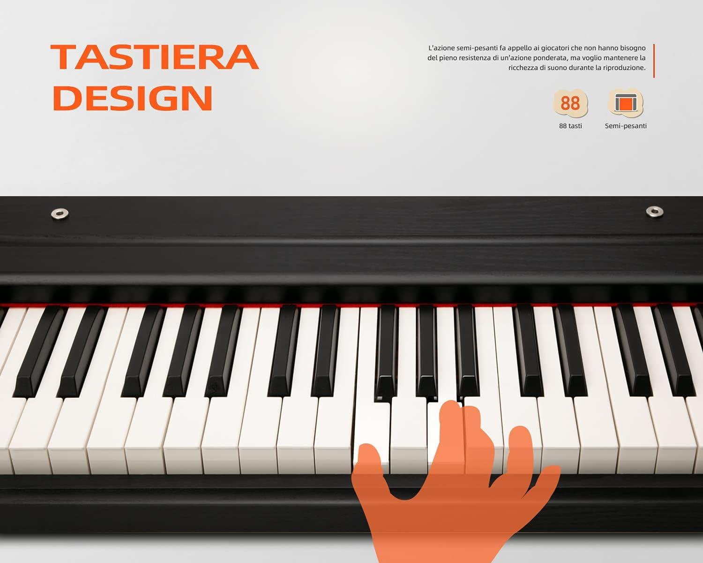 Souidmy - Piano digital, teclado eléctrico compacto de 88 teclas, con teclas semipesadas y melodías de muestra de piano de cola para conciertos, ...