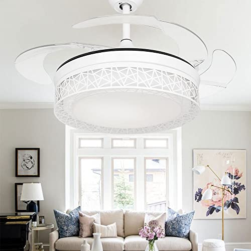 COLORLED Modern Bird s Nest Invisible Ceiling Fan Light for Living Room Bedroom Dining Room 42 Inch Fan Ceiling Chandelier Light Kit