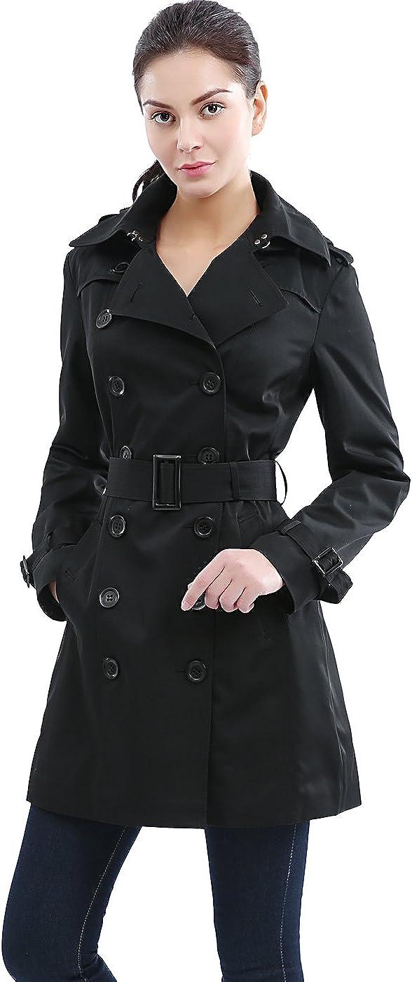 BGSD Women's Madison Hooded Waterproof Mid Length Trench Coat Black