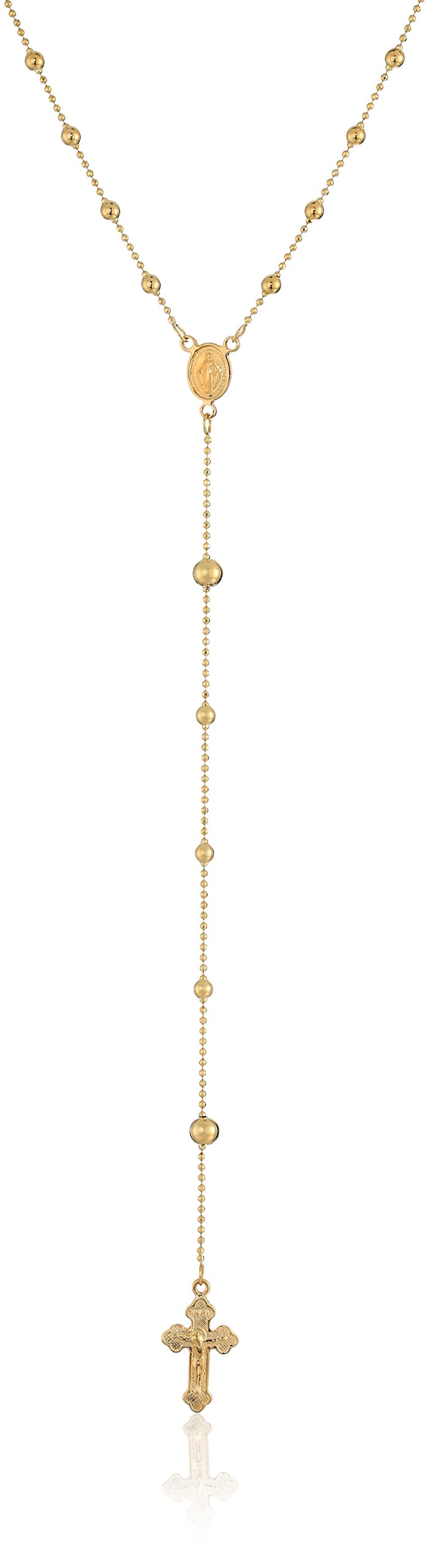 14k Yellow Gold Rosary Bead Necklace, 24''