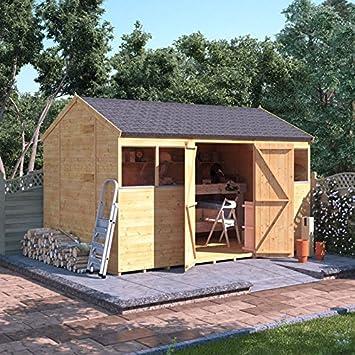 BillyOh Lengua y ranura de madera Taller jardín cobertizo doble puerta ventana reverso Apex Premium techo suelo fieltro: Amazon.es: Jardín