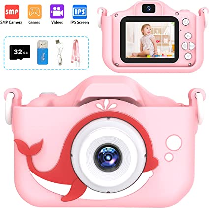 Best Birthday Christmas Kids Gifts for 3-12 Age Girls Toys 1080P Kids Selfie Camera with 8MP Dual Cameras Children Digital Camera 2.0 IPS Toddler Girls Camera with 32GB SD Card Pink Kids Camera