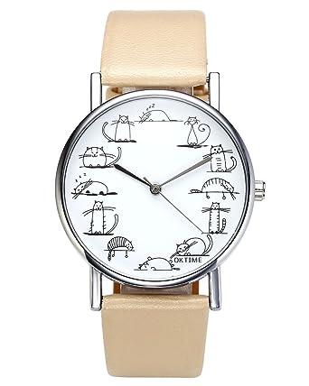 jsdde Relojes, Fashion Cute Dibujos Animados Gatos Reloj de ...