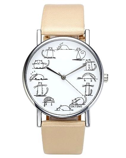 jsdde Relojes, Fashion Cute Dibujos Animados Gatos Reloj de Pulsera Gato Escala Maedchen Mujer Reloj Cuero PU Banda analógico de Cuarzo Reloj, Color Beige: ...
