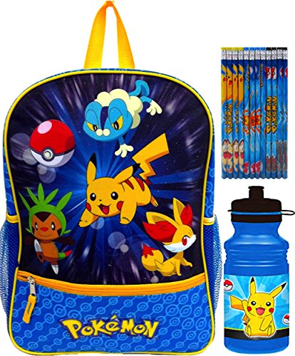 Pokemon School Backpack with Water Bottle and Pencils Set