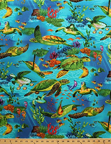 Ocean Fish Fabric - Cotton Sea Turtles Swimming Underwater Ocean Fish Plants Blue Cotton Fabric Print by the Yard (michael-c9986)