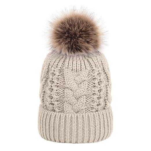 231d16fb626bb Opromo Womens Girls Winter Fleece Lined Cable Knit Hat Faux Fur Pom Pom  Beanie-Beige