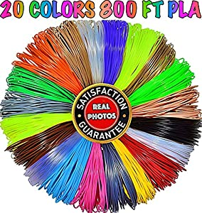 3D Pen Filament Refills 1.75mm PLA 20 Colors Total 800 Feet, 40 Feet Each-Mega Kit/Set with Individual Packs for 3D Drawing/Printing Pens and Printers from PARKYAPI