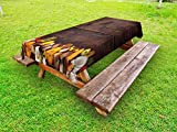 Lunarable Thanksgiving Outdoor Tablecloth, Dark Wood Board and Natural Food Border Various Vegetables Agriculture, Decorative Washable Picnic Table Cloth, 58 X 120 inches, Brown Orange White