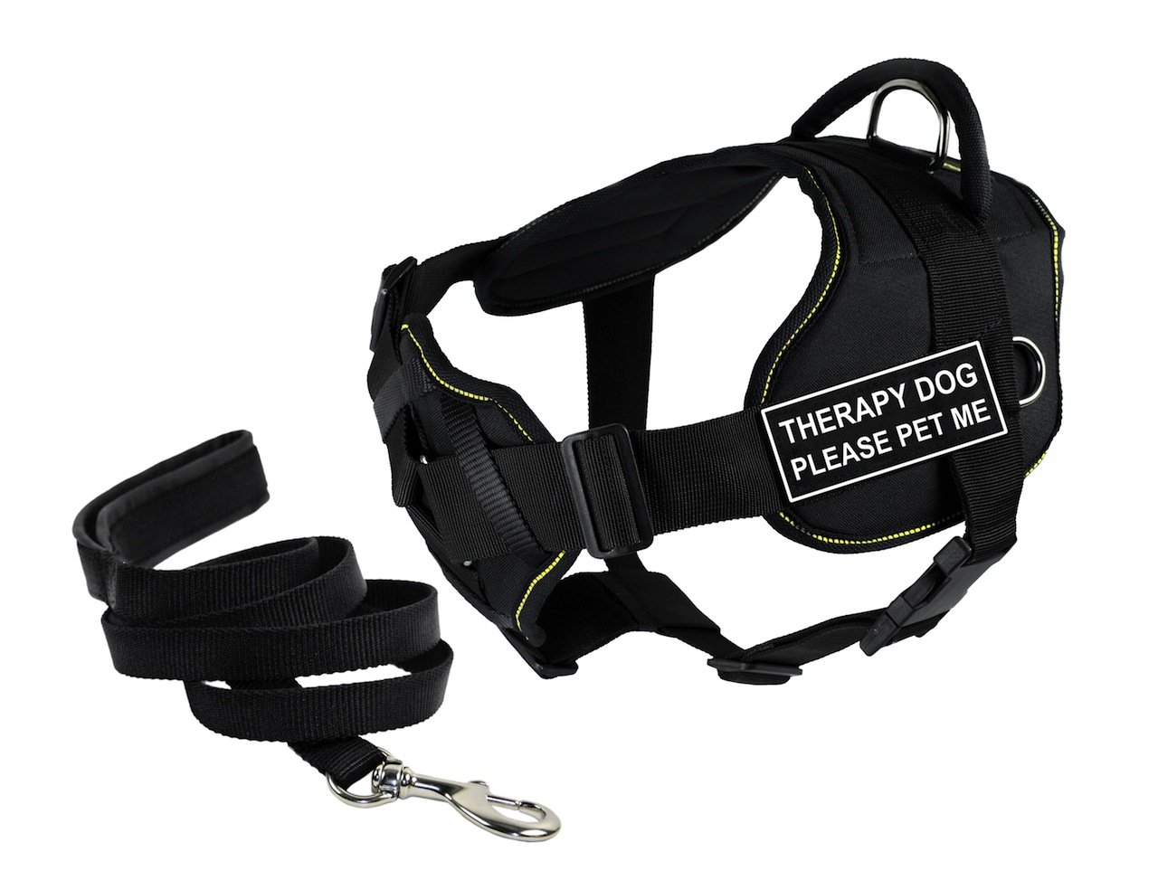 Dean & Tyler's DT Fun Chest Support THERAPY DOG PLEASE PET ME Harness, Small, with 6 ft Padded Puppy Leash.