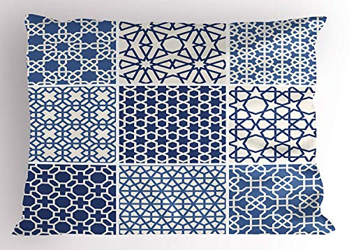 (K0k2t0 Arabian Pillow Sham, Arabesque Eastern Motifs with Geometric Lines Asian Ethnic Ornate Ottoman Element, Decorative Standard Queen Size Printed Pillowcase, 30 X 20 inches, Blue White)