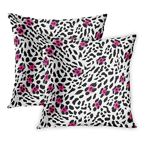 Lamour Soft Leather - Emvency Throw Pillow Cover Pack of 2, Orange Girly Glam Leopard Pink Pattern Glamour Abstract Amur Animal Home Decor Square Size 18 x 18 Inches Cushion Pillowcase