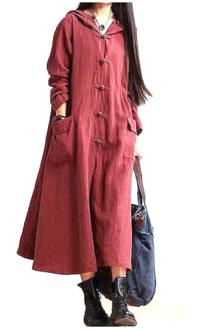 LianXiYou Womens Wild Side Slit Pure Color Knee Length Hooded Long Dress