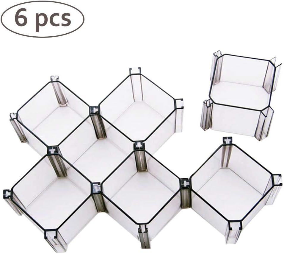 Phayee Juego de cajones de 6 Cajas, Honeycomb Storage Box Caja de divisores de cajón Gabinete de Compartimiento de plástico, divisores para organizar Calcetines, cosméticos y Corbatas y más