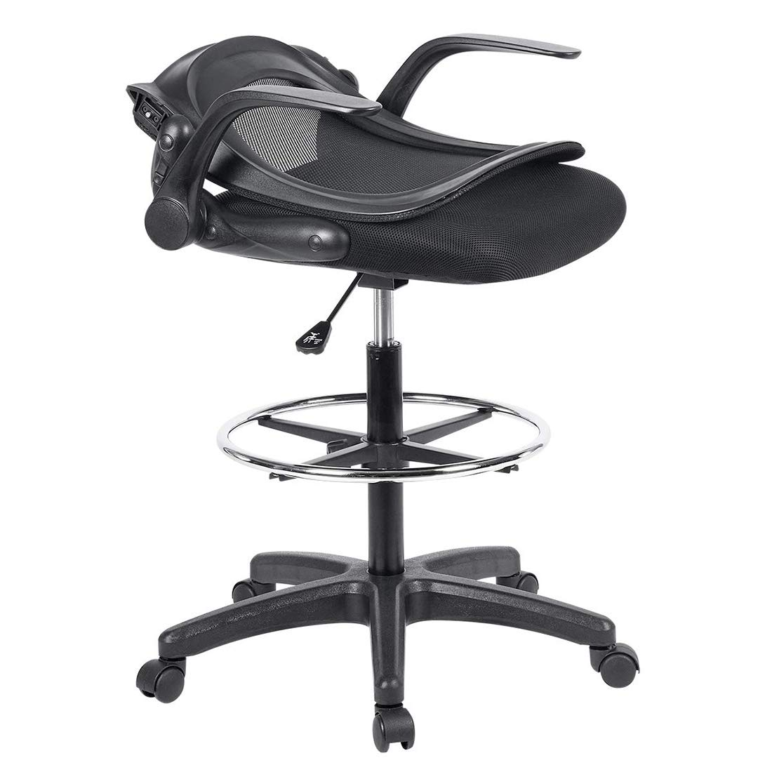 Ulikit Ergonomic Black Mesh Drafting Chair, Office Adjustable Chair Drafting Stool with Adjustable Foot Rest with Arm by Ulikit (Image #4)