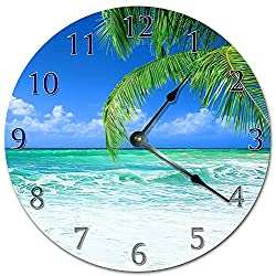 PotteLove 12 Vintage Beautiful Day at The Beach Clock Wooden Decorative Round Wall Clock
