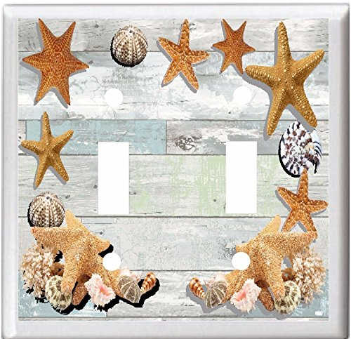 STARFISH SEA SHELLS ON WEATHERED WOOD LIGHT SWITCH COVER PLATE (2x Toggle)