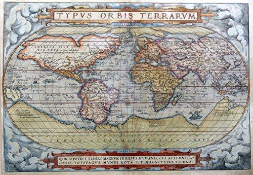 Vintage World Map by Abraham Ortelius - Typus Orbis Terrarum, 1572 - 22