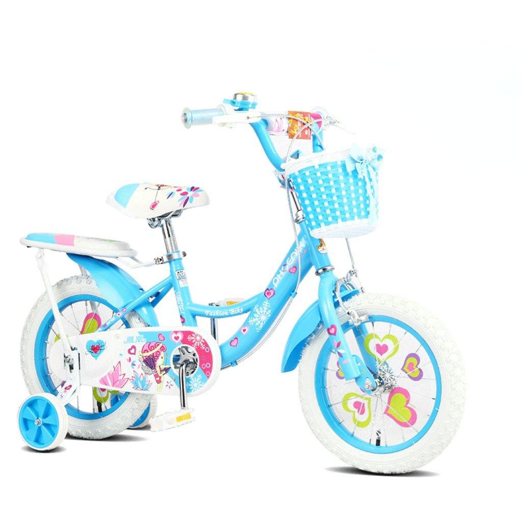 子供用自転車18インチガールズ自転車7-13歳の赤ちゃんキャリッジハイカーボンスチール自転車、ピンク/グリーン/ブルー (Color : Blue) B07CV9WDX2
