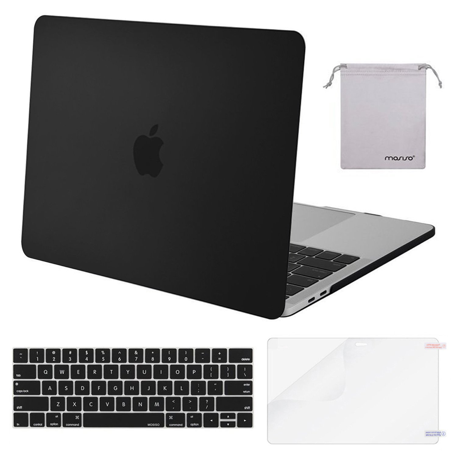 MOSISO MacBook Pro 13 Case 2018 2017 2016 Release A1989/A1706/A1708, Plastic Hard Shell with Keyboard Cover with Screen Protector with Storage Bag Compatible Newest Mac Pro 13 Inch, Black