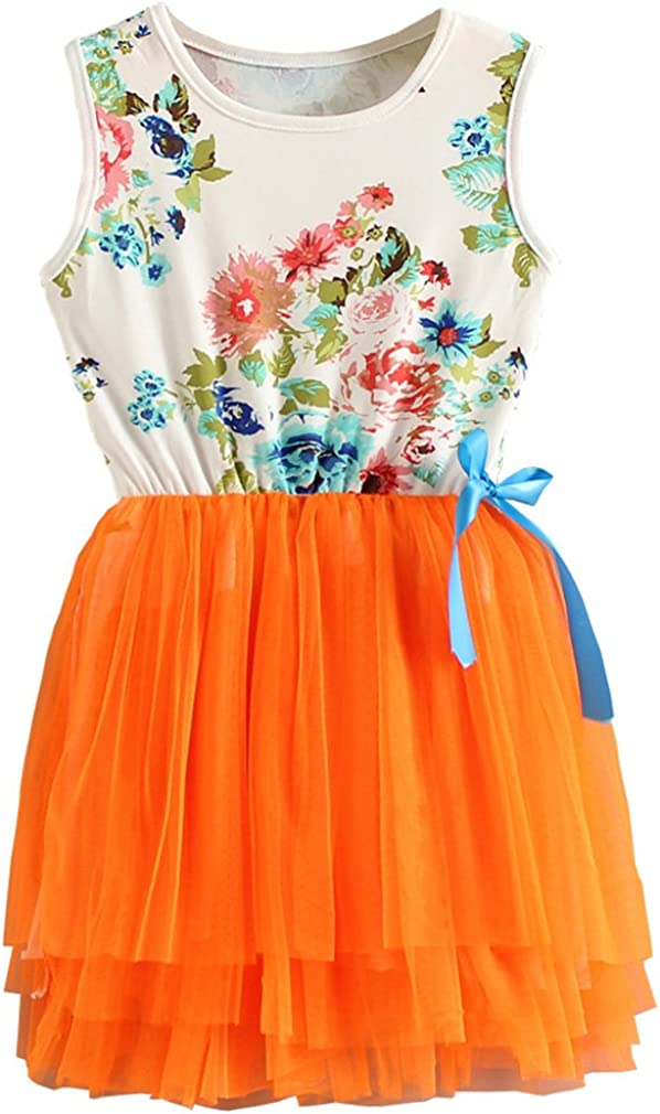 Niyage Little Girls Sleeveless Floral Princess Dress Tulle Tutu Sundress