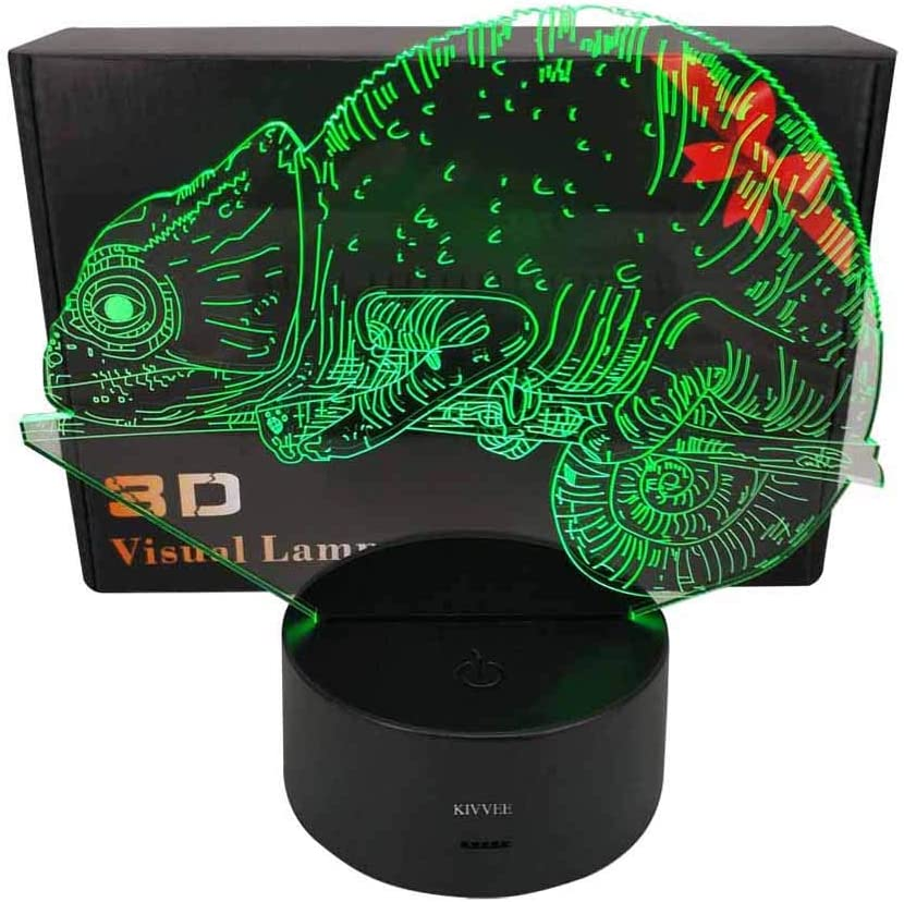 Chameleon Visual 3D Night light Animal Toys 2D lamp Xmas Chirstmas Festival Birthday Valentines Day Gift Nursery Bedroom Desk Table Decoration for Baby Kids children Lovers