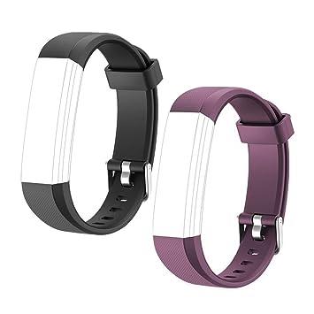 HOTSO 2 Piezas Pulsera de Repuesto para Reloj Inteligente ID 115U, Cómoda y Durable Correa de Recambio - Violeta+ Negro: Amazon.es: Deportes y aire libre