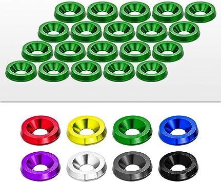 20 Pieces Kit Green CNC Billet Aluminum Bumper Fender Washer//Bumper Washer Bolt//Engine Bay Dress Up