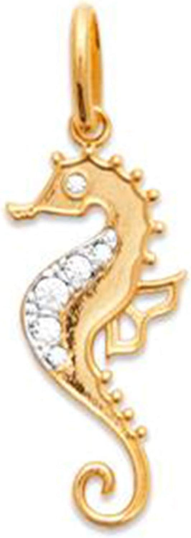 Pendentif Hippocampe Plaqu/é Or 750//000 et Oxydes Zirconium Neuf
