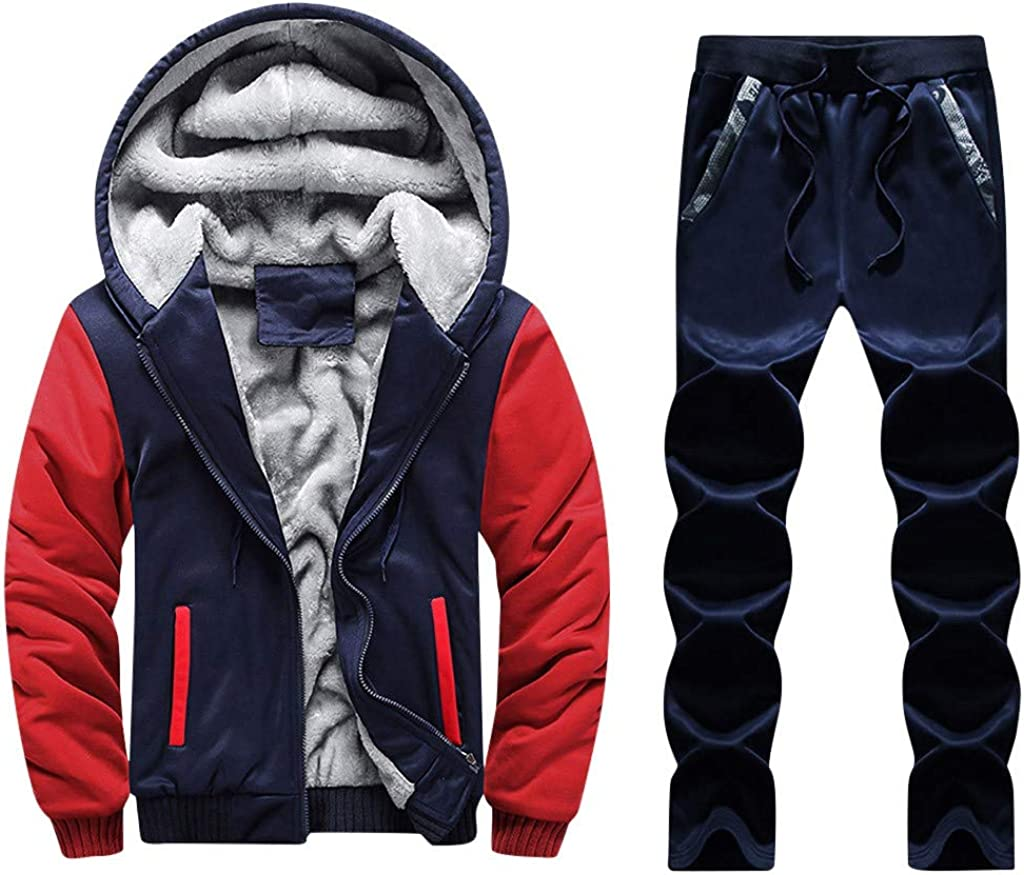 Suesshop Winter Thick Sports Jogging Hooded Sweatsuit Set Mens Owl Print Outwear Coat Pants Sets 2 Pcs Tracksuits Sets